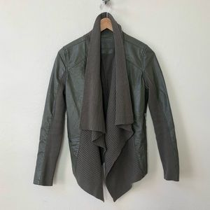 BLANK NYC olive green vegan faux leather jacket